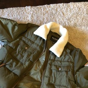 Olive green Guess puffer  jacket